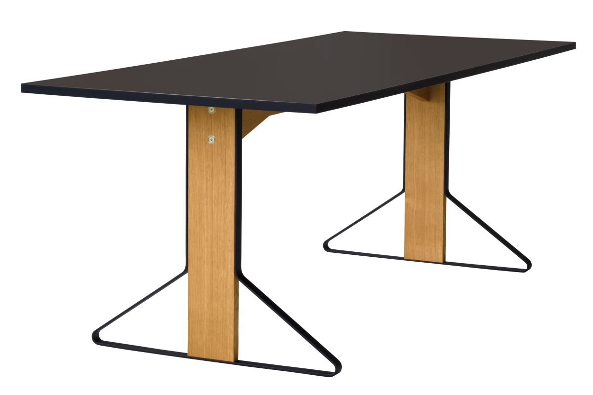 Kaari Table rectangular REB001 natural oak black Linoleum
