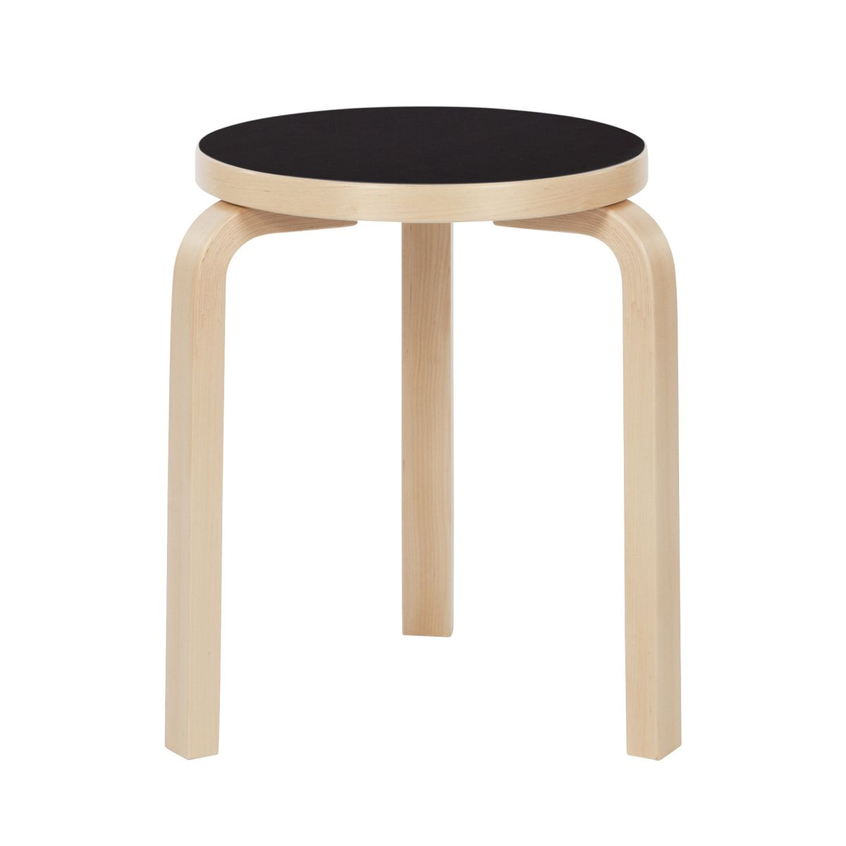 Stool 60 legs birch black linoleum