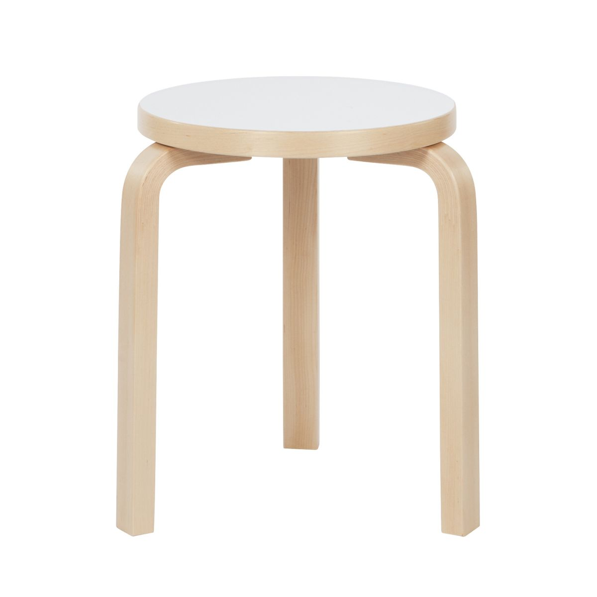 Stool 60 legs birch seat white HPL