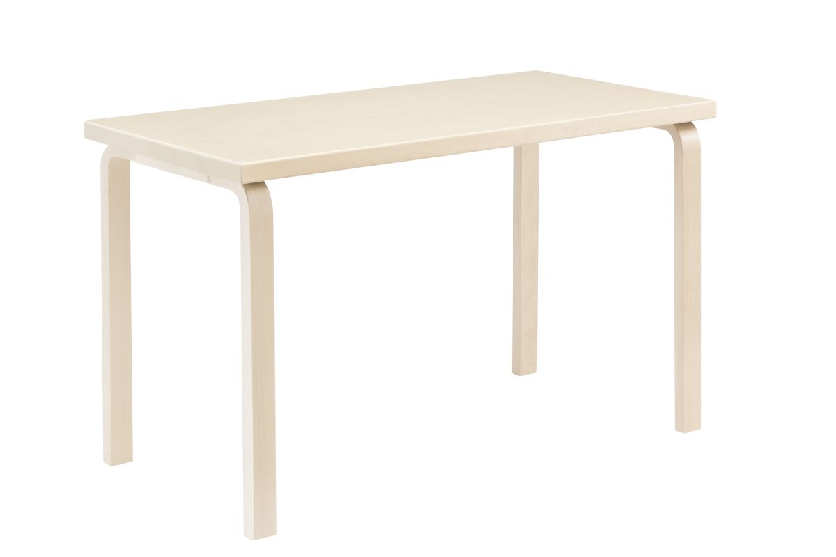 Aalto Table rectangular 80A legs and edge band birch top birch