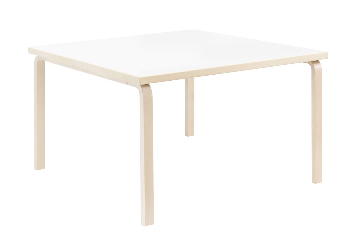 Aalto Table square 84 legs and edge band birch top white HPL