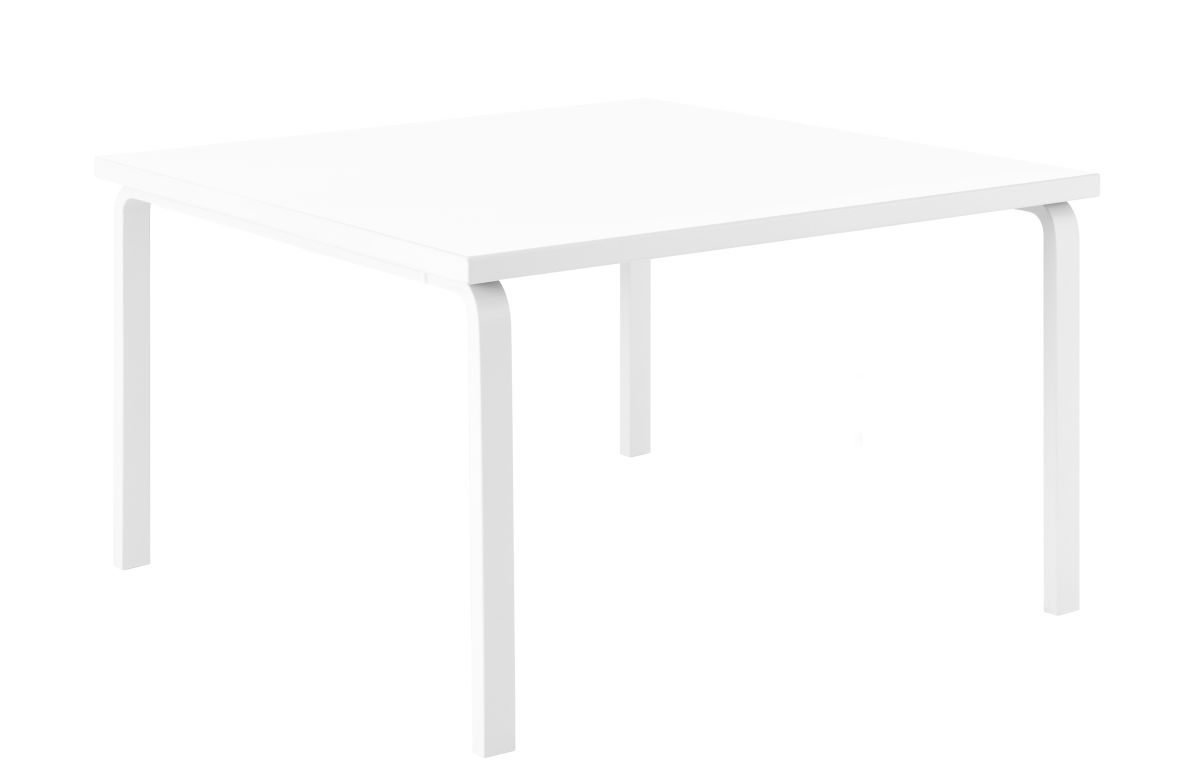 Aalto Table square 84 legs and edge band white laquered top white HPL