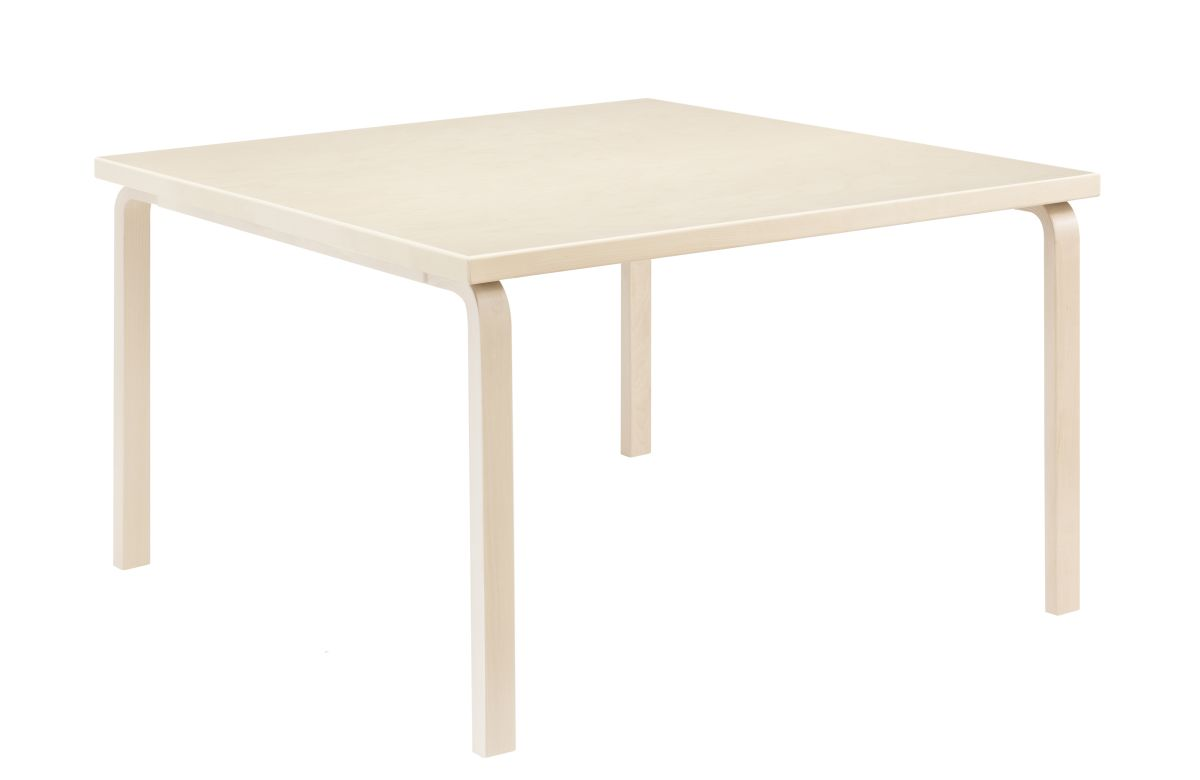 Aalto Table square 84 legs and edge band birch top birch