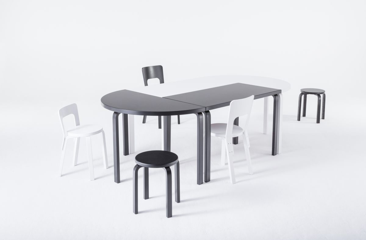 Aalto Table Rectangular Half Round Stool E60 Chair 65 Black White  Lacquer_WEB