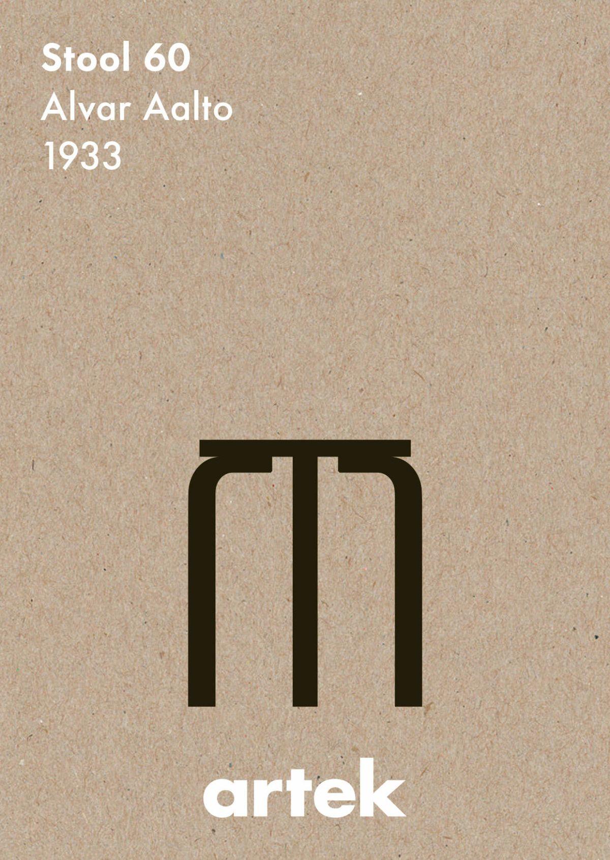 Artek Icons, Greige Stool 60