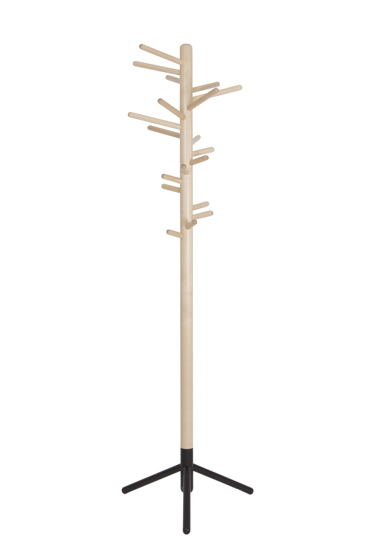 Clothes tree 160 clear lacquer black foot