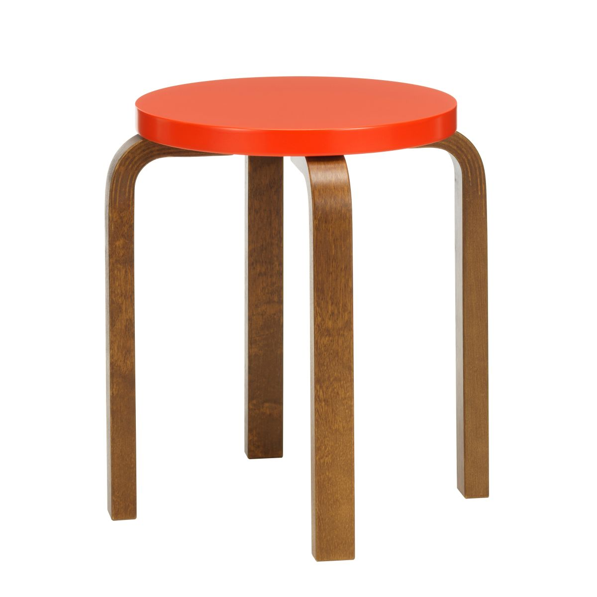 Stool E60 walnut stain bright red lacquer_F