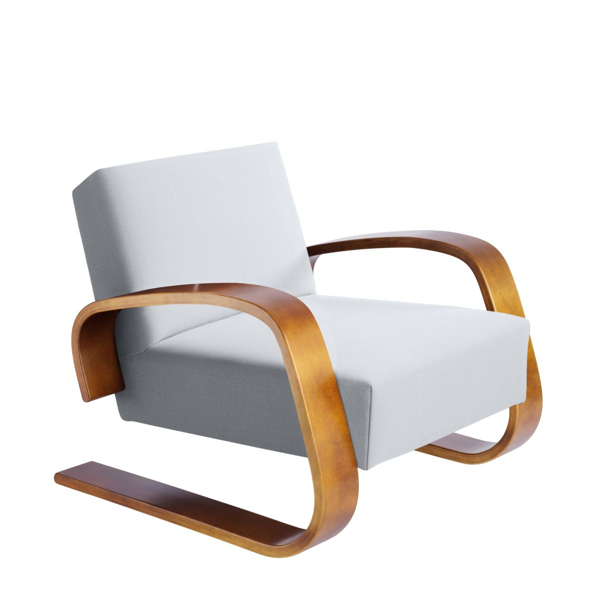 Armchair 400  Tank Legs Walnut Stain Seat Fabric Upholstery Artek Grey 2494498