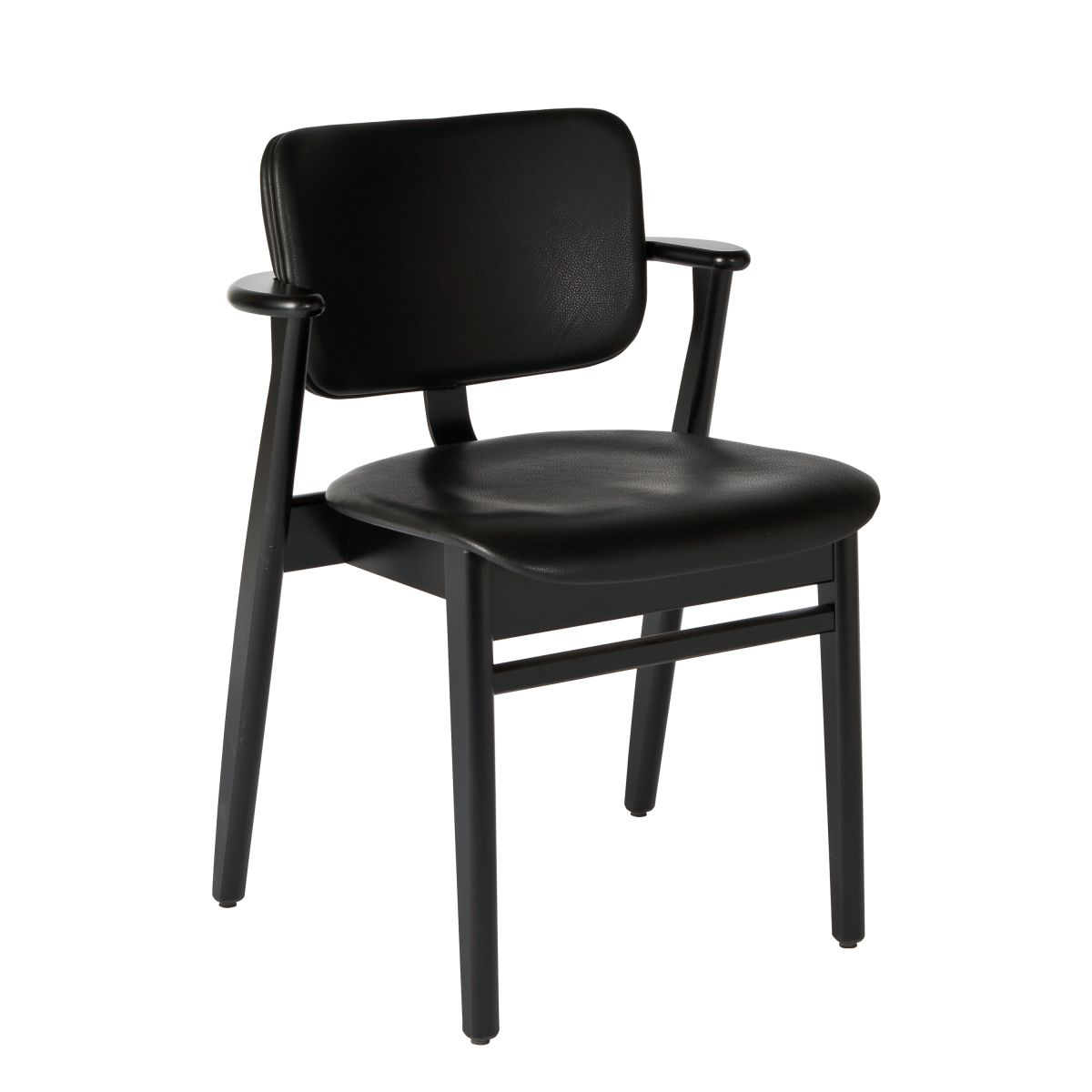 Domus Chair black lacquer leather upholstery black
