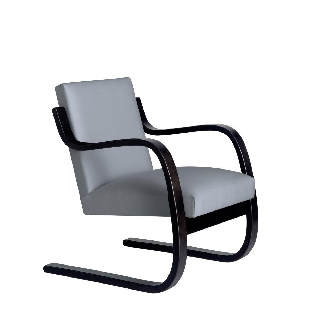 Armchair 402 Birch Blacl Laquer Seat Fabric Upholstery Artek Grey 2494506