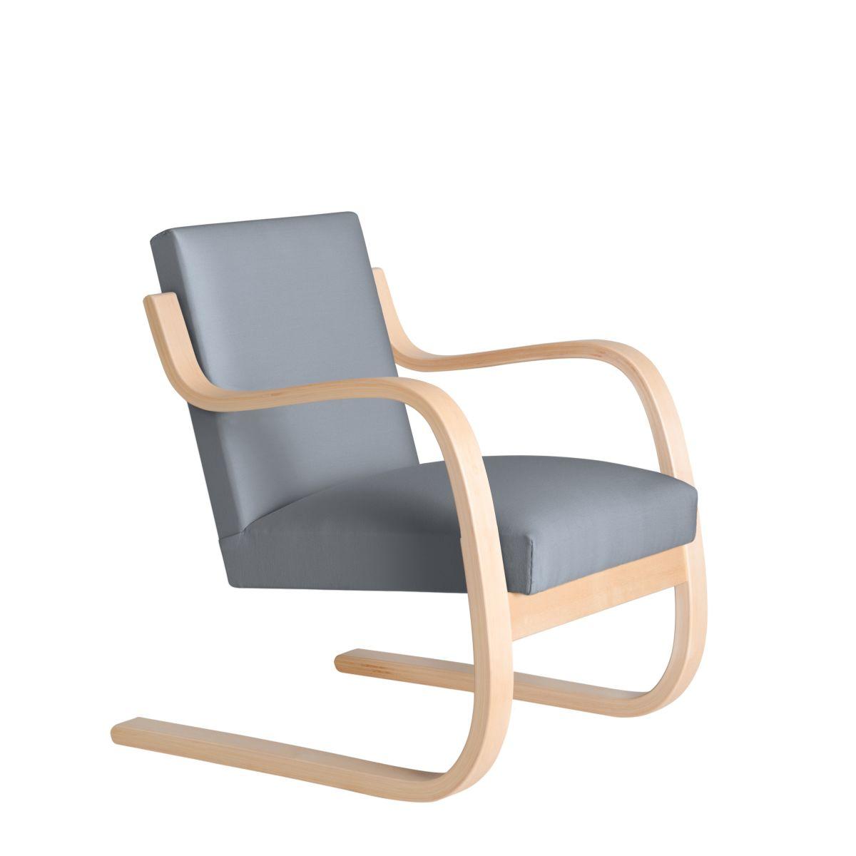Armchair 402 Birch Clear Laquer Seat Fabric Upholstery Artek Grey 2494507