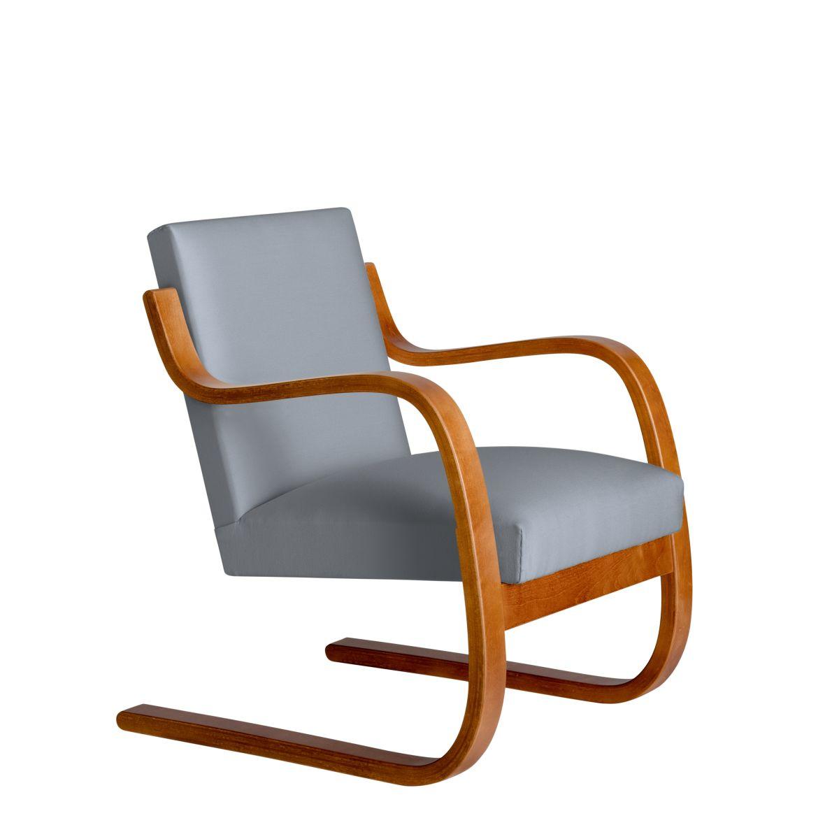 Armchair 402 Birch Honey Stain Seat Fabric Upholstery Artek Grey 2494508