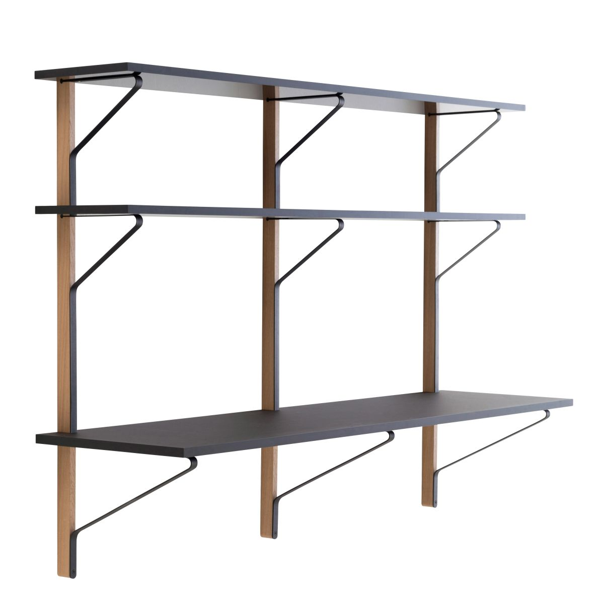 Kaari Wall Shelf with desk REB010 black oak_WEB