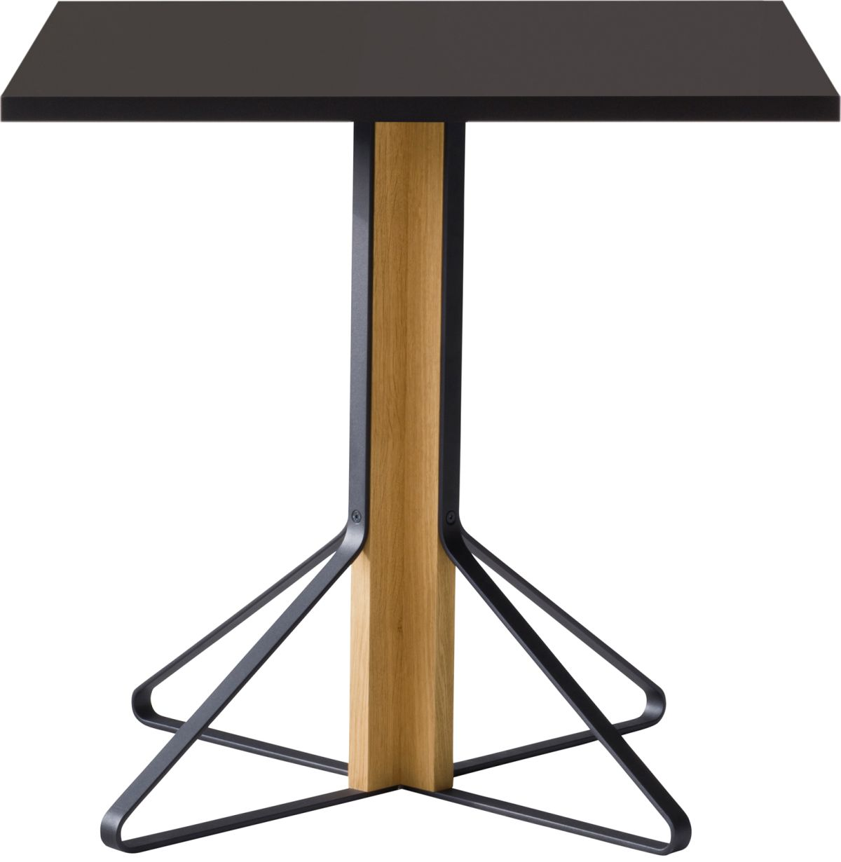 Kaari_Table_square_legs natural oak_top black linoleum