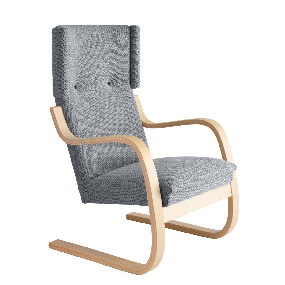 Armchair 401 Birch Clear Laquer Seat Fabric Upholstery Artek Grey 2494502