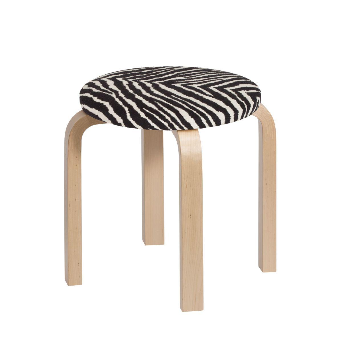 Childrens Stool Ne60 Legs Birch Seat Fabric Upholstery Zebra 2463528