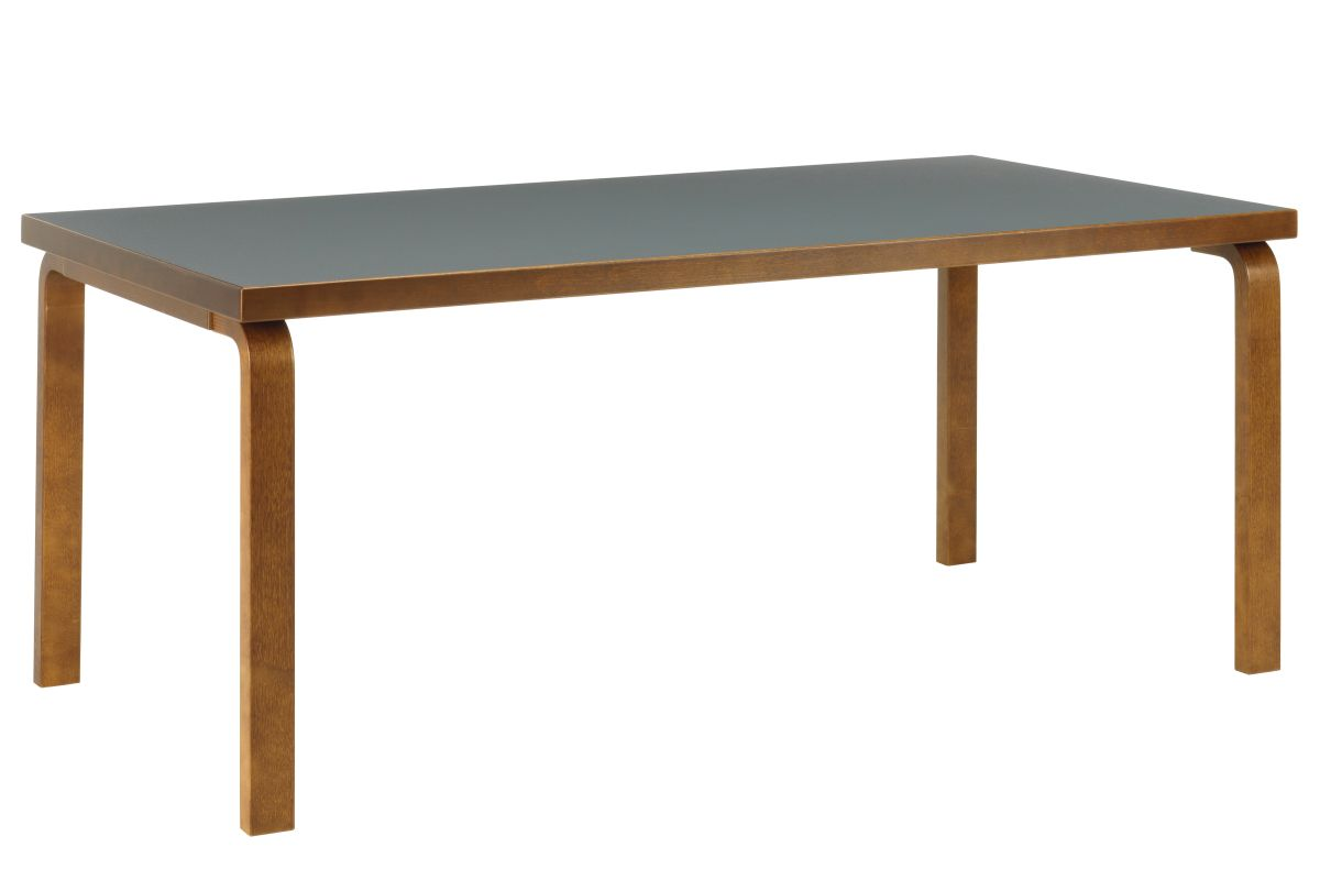 Aalto Table rectangular 83 walnut stain pewter linoleum_F