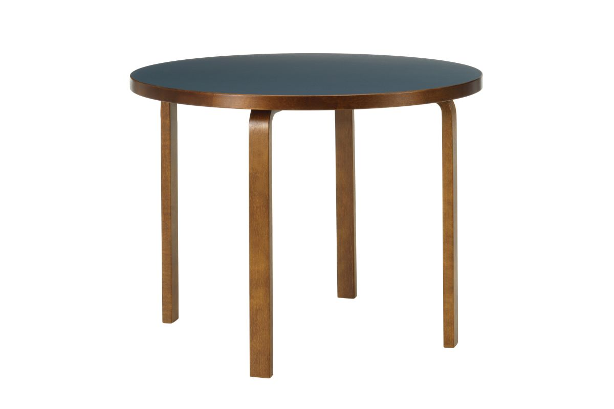 Aalto Table round 90A walnut stain blue linoleum_F