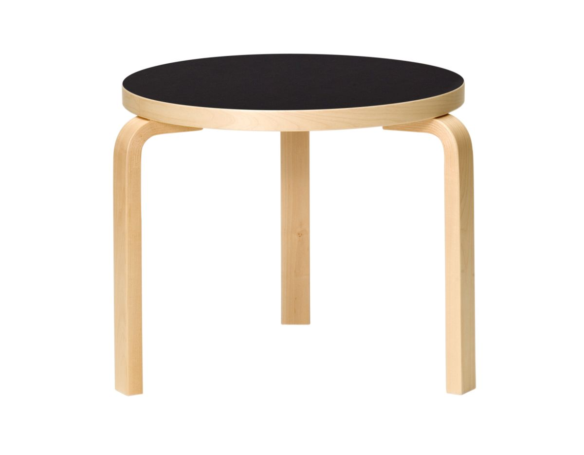 Table 90D_legs birch_top black linoleum