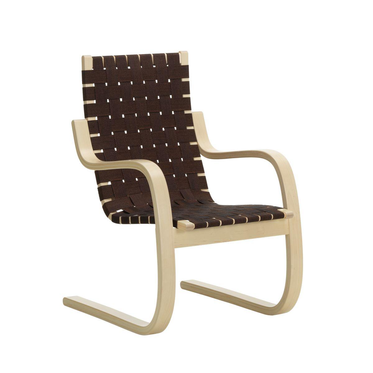 Armchair 406 natural, black/brown webbing_F