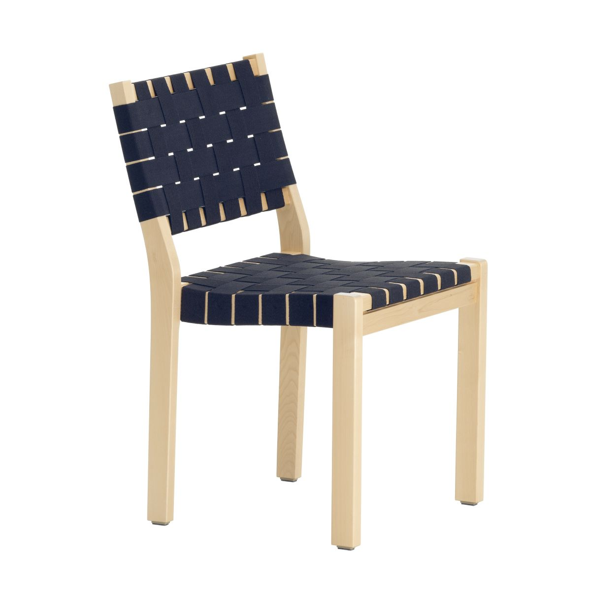 Chair 611 Clear Lacquered Birch Black Blue New Webbing F 2436651