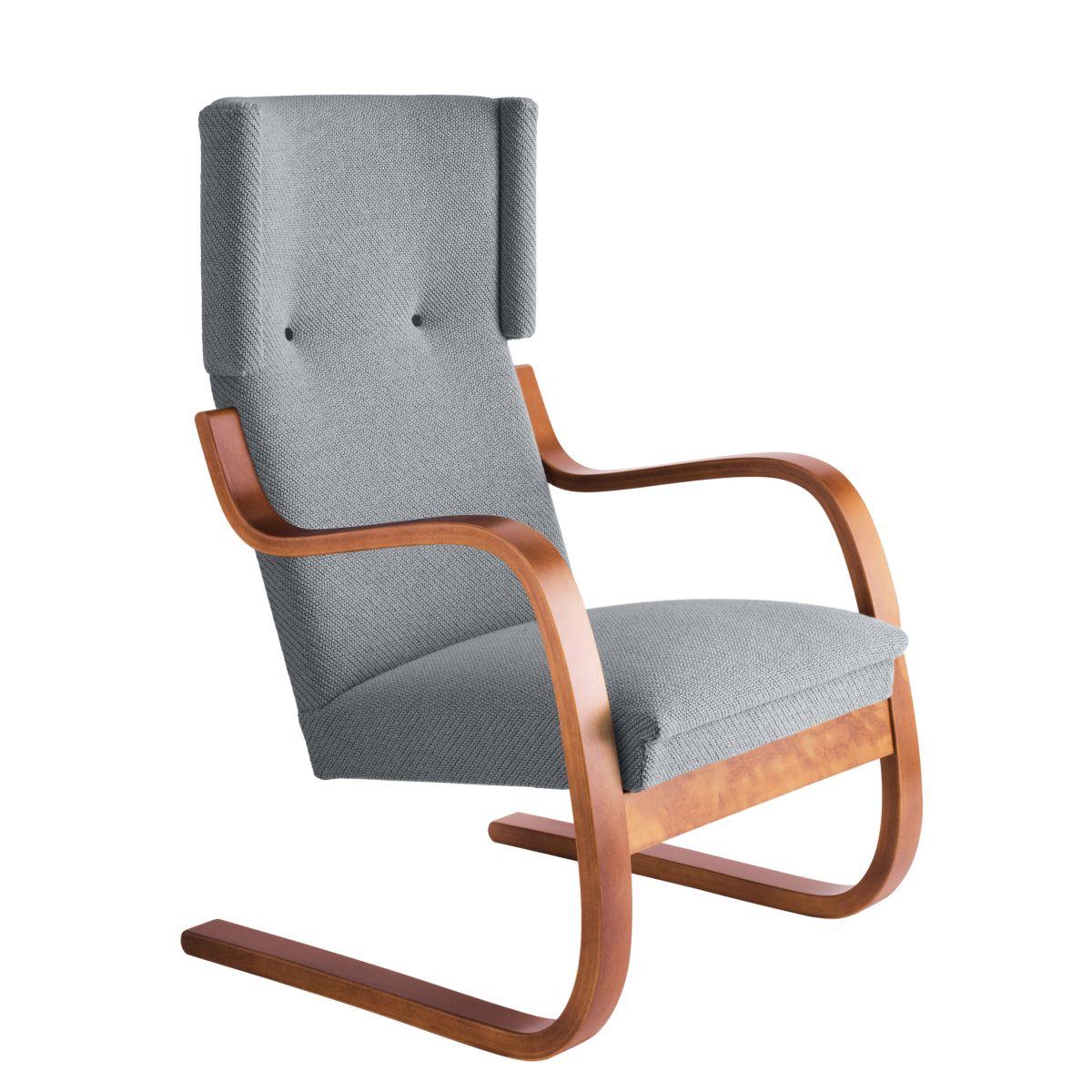 Armchair 401 Walnut Stain Seat Fabric Upholstery Artek Grey 2494504