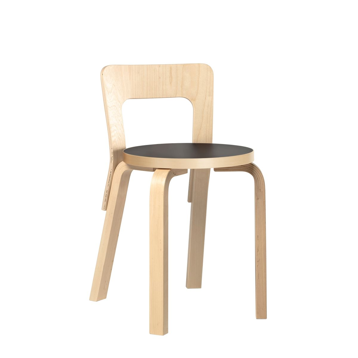 Chair 65 legs birch_Top black linoleum