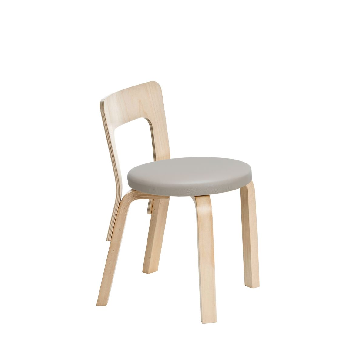 Children's Chair N65 legs birch_seat leather upholstery padding_F