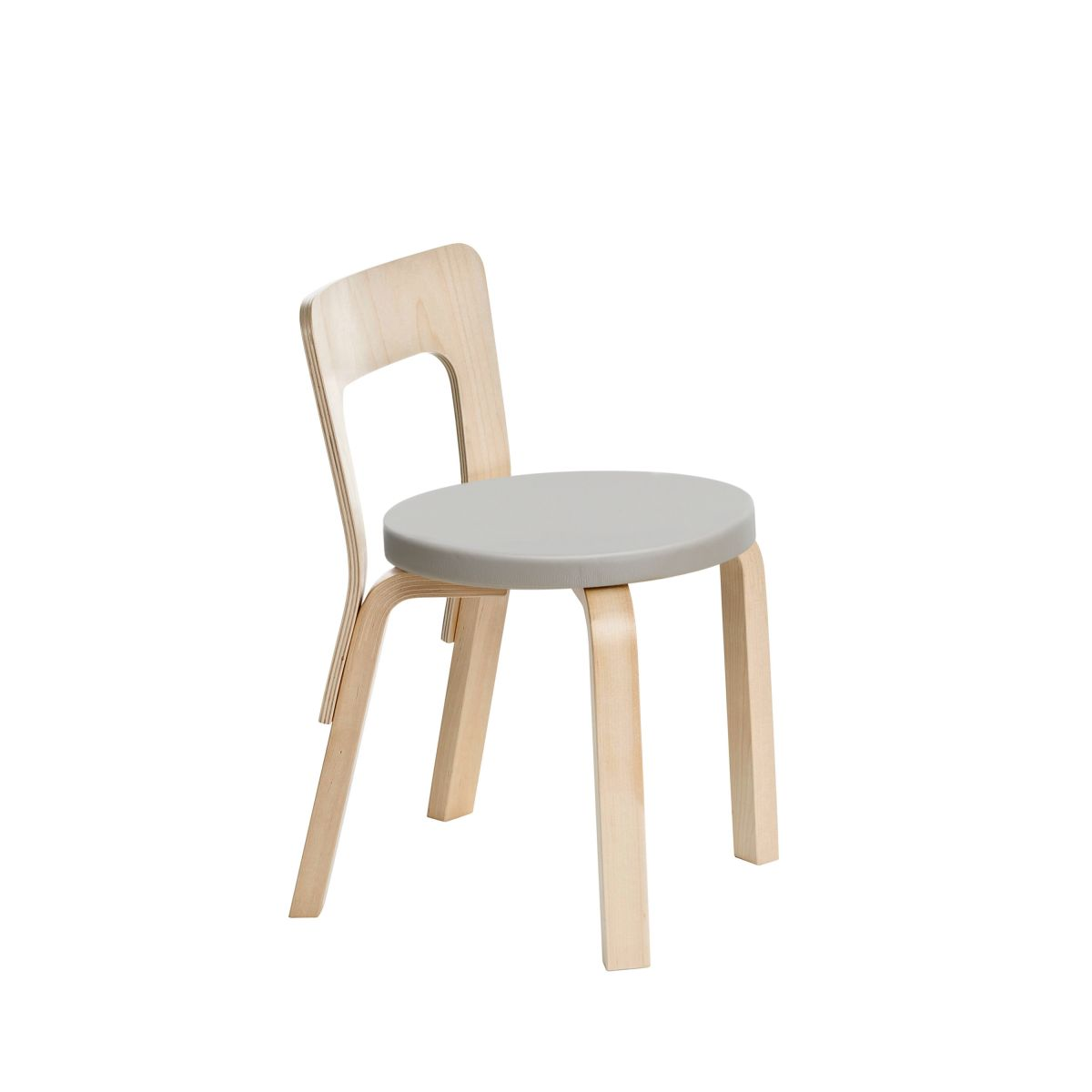 Children's Chair N65 legs birch_seat leather upholstery_F