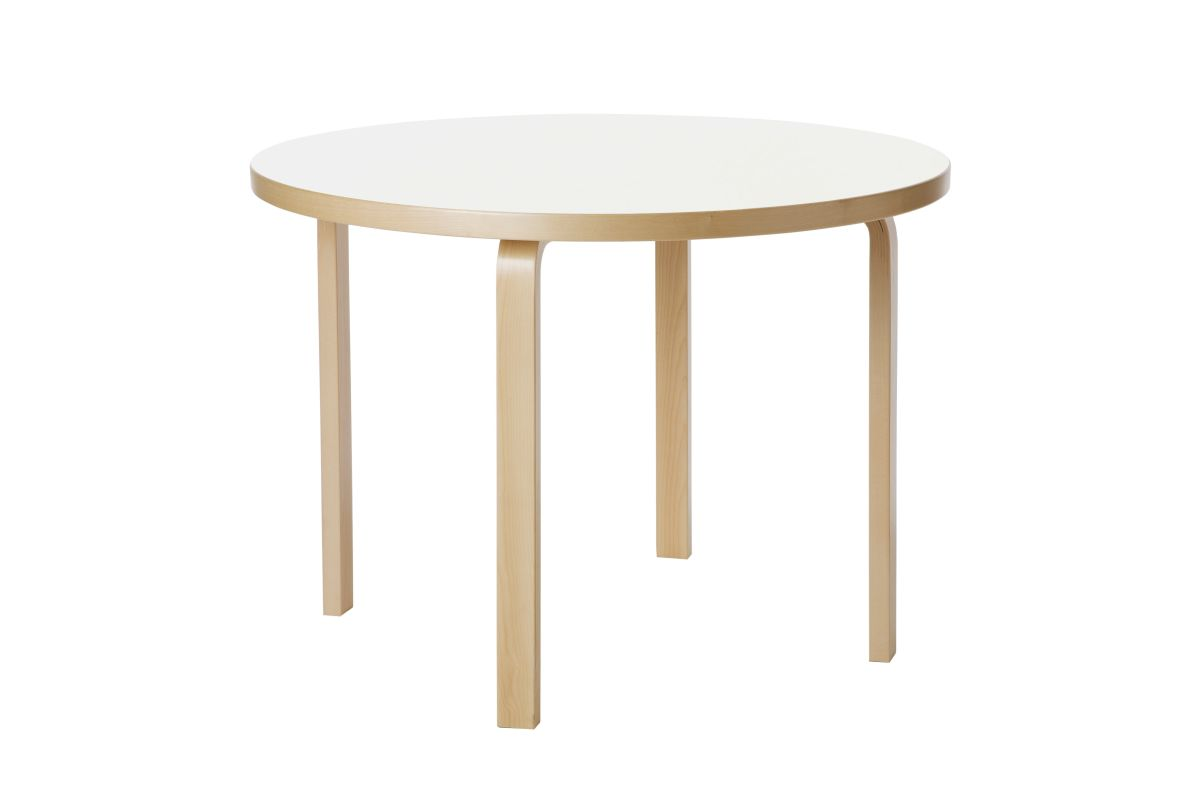 Aalto table round 90A white laminate