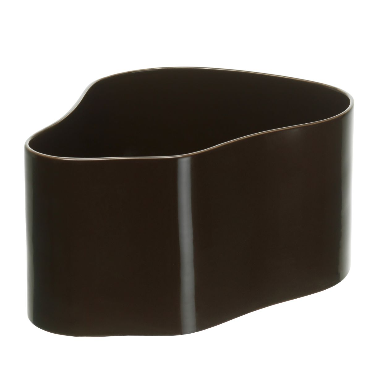 Plant pot shape A, size L, Dark Brown gloss_F