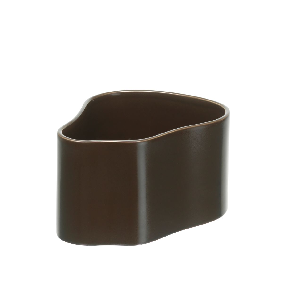 Plant pot shape A, size S, Dark brown gloss_F