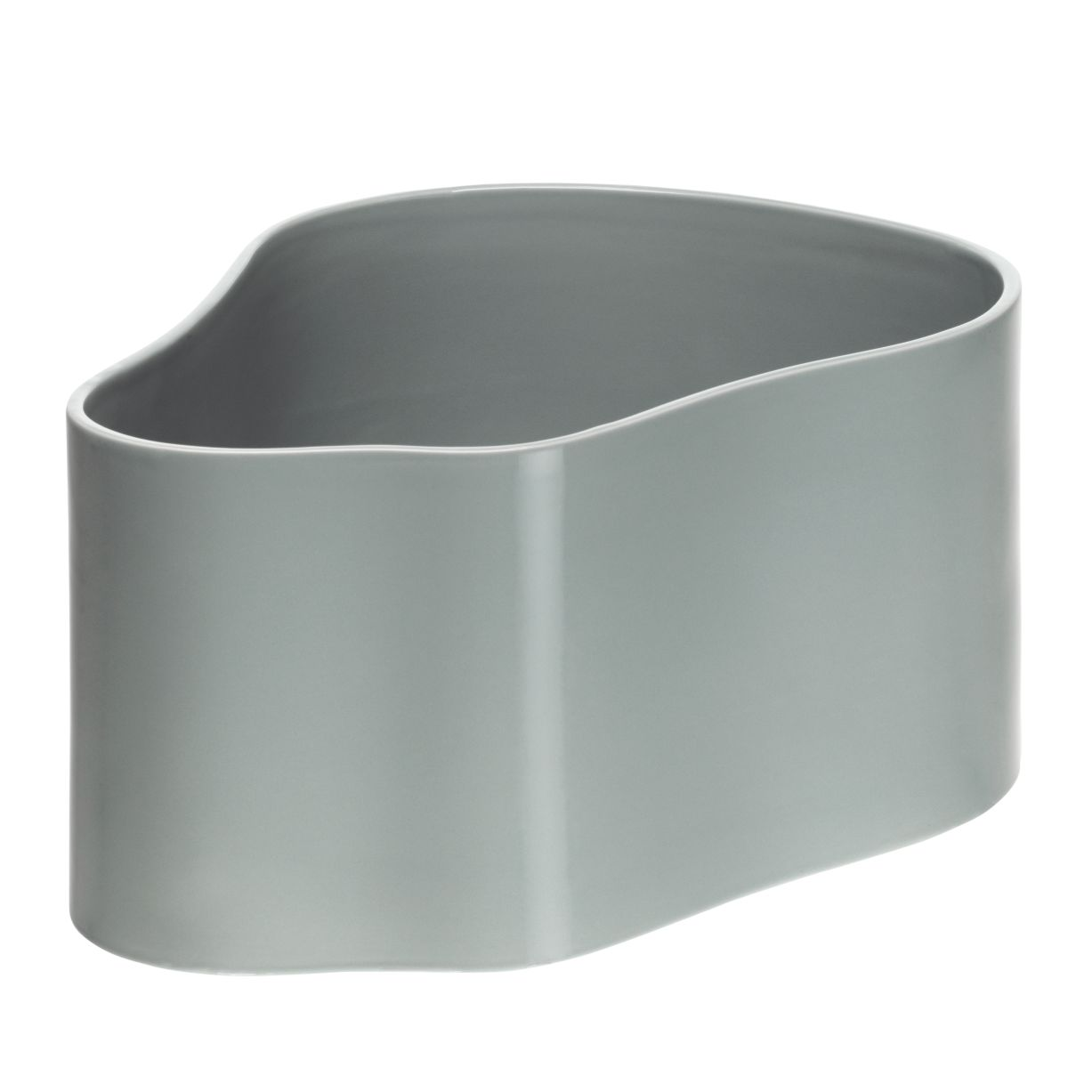 Plant pot shape A, size L, Light grey gloss_F