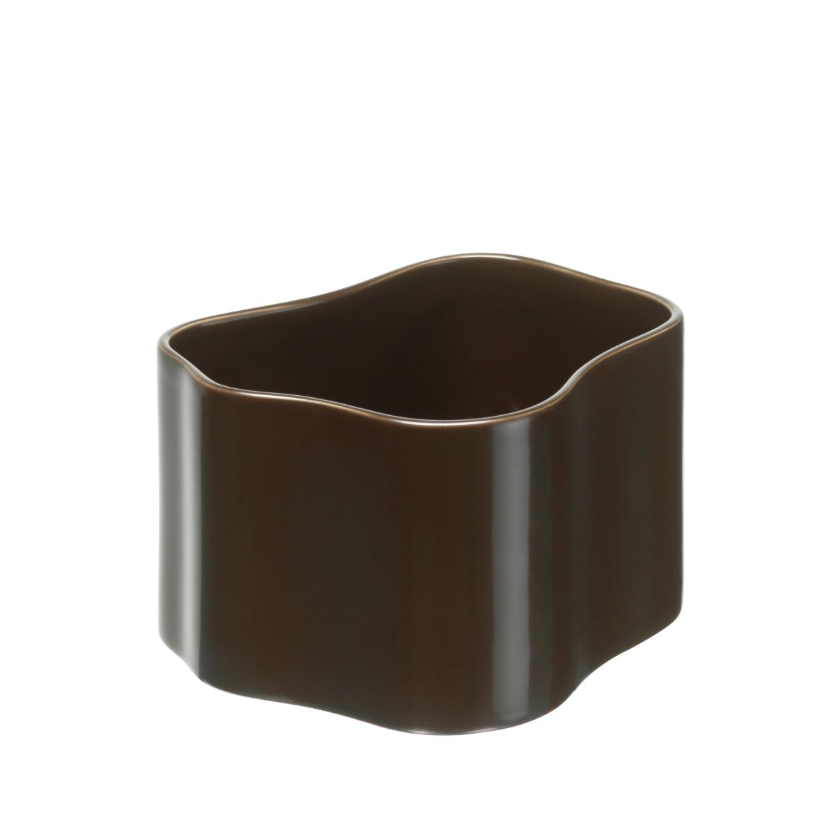 Plant pot shape B, size S, Dark brown gloss_F