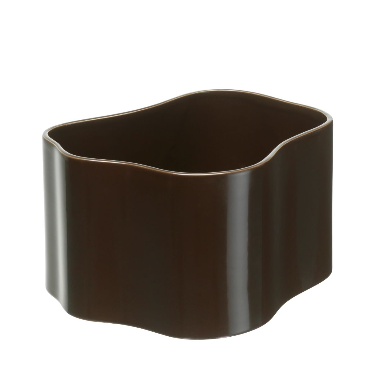 Plant pot shape B, size M, Dark brown gloss_F