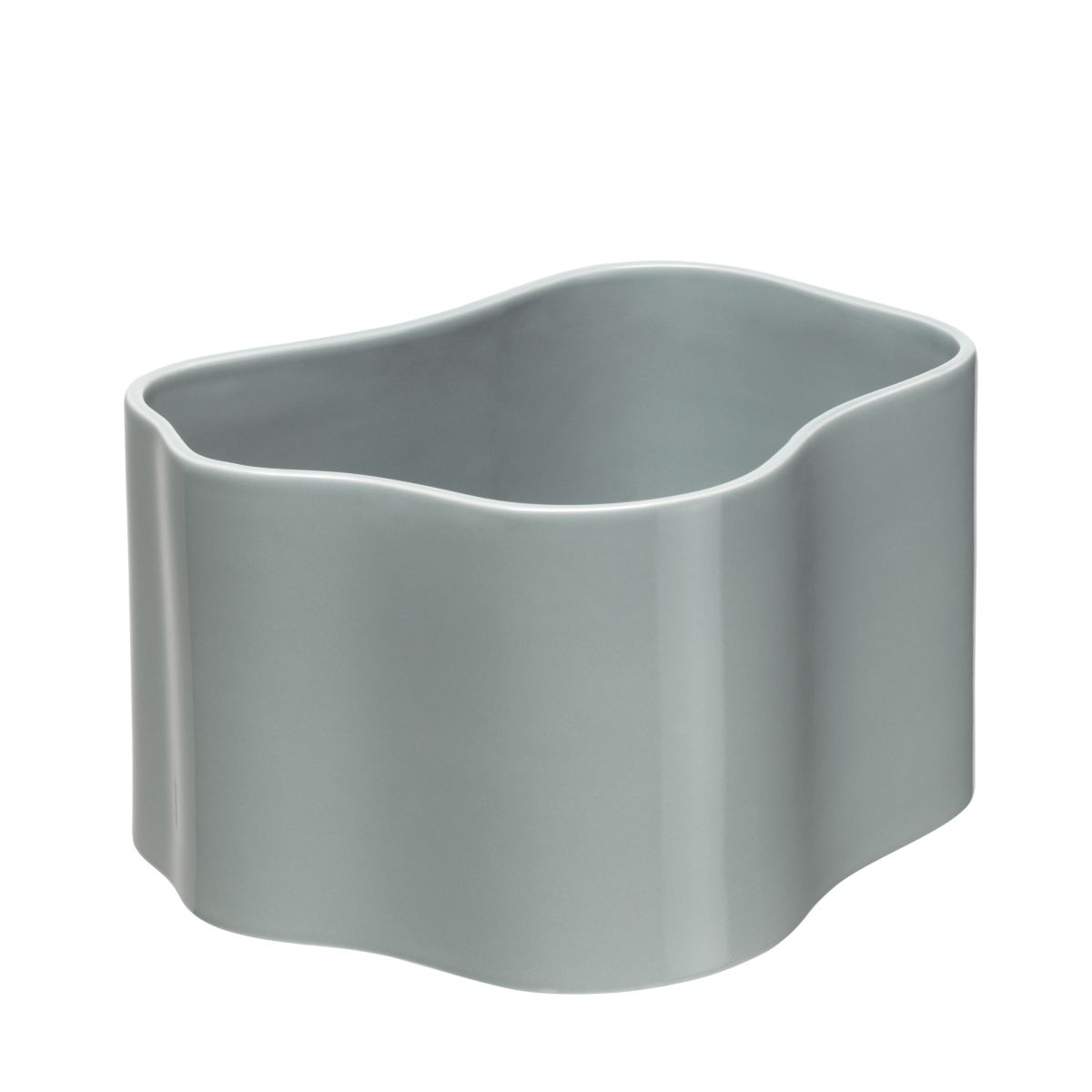 Plant pot shape B, size M, Light grey gloss_F