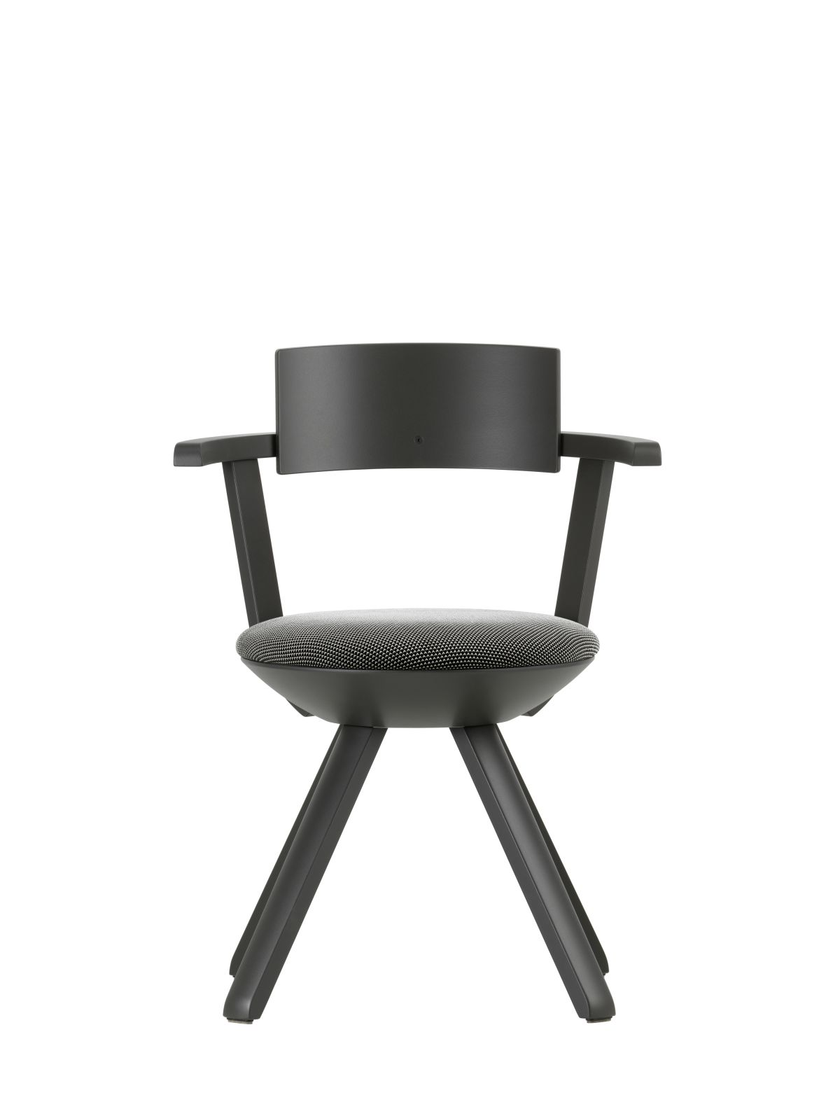 Rival Chair KG002 Legs and backrest asphalt lacquered seat upholstery 3D-knit black white