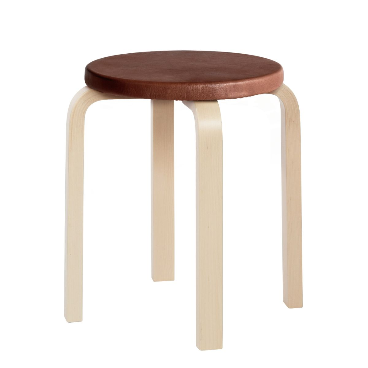 Stool E60 legs birch, leather upholstery no padding top