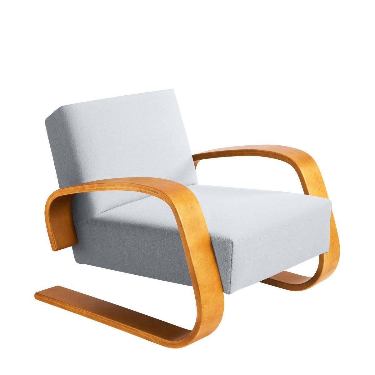 Armchair 400 _Tank  honey stain birch_seat fabric upholstery Artek grey