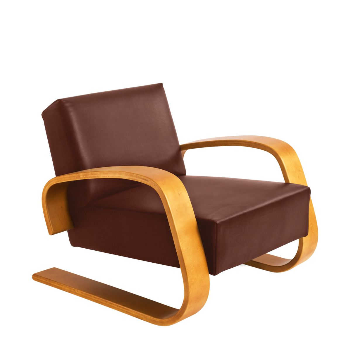 Armchair 400 _Tank  honey stain birch_seat leather indian red