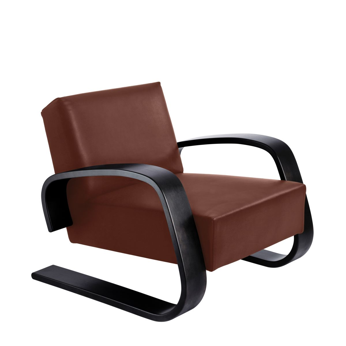 Armchair 400 _Tank  legs black laquer_seat leather indian red