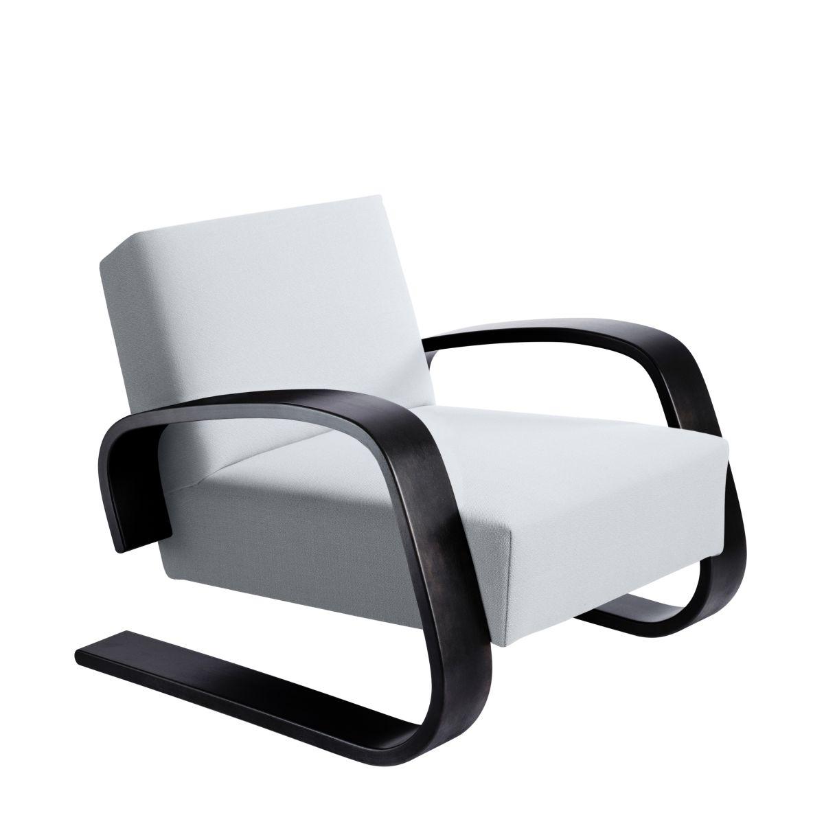 Armchair 400 _Tank  legs black laquered birch_seat fabric upholstery Artek grey