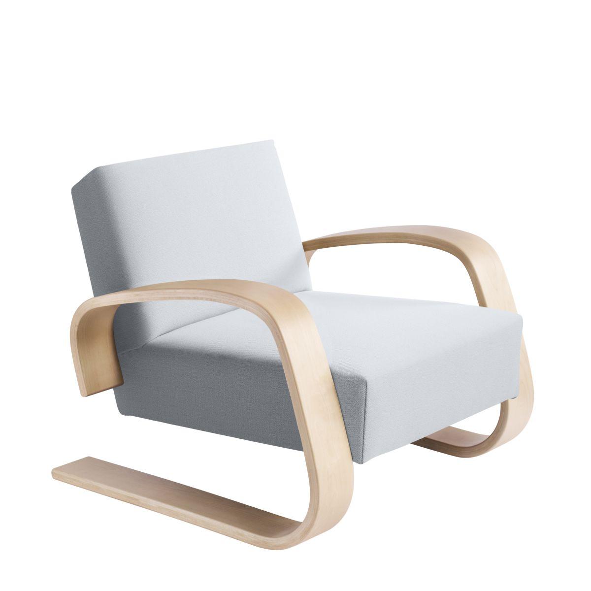 Armchair 400 _Tank  legs clear laquered birch_seat fabric upholstery Artek grey