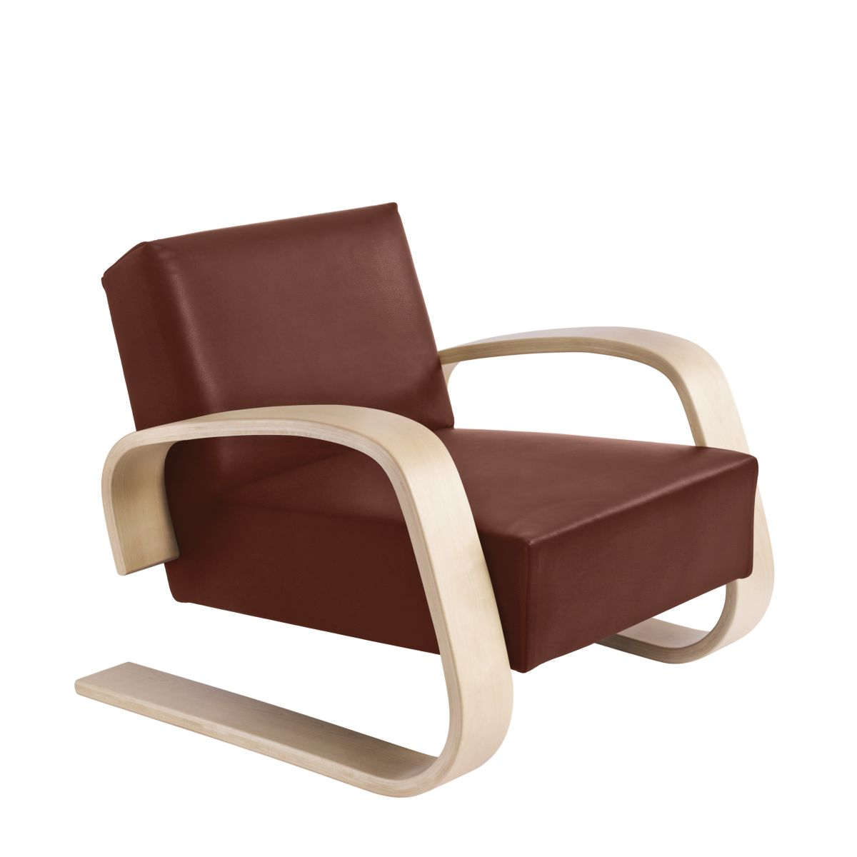 Armchair 400 _Tank  legs clear laquered birch_seat leather indian red