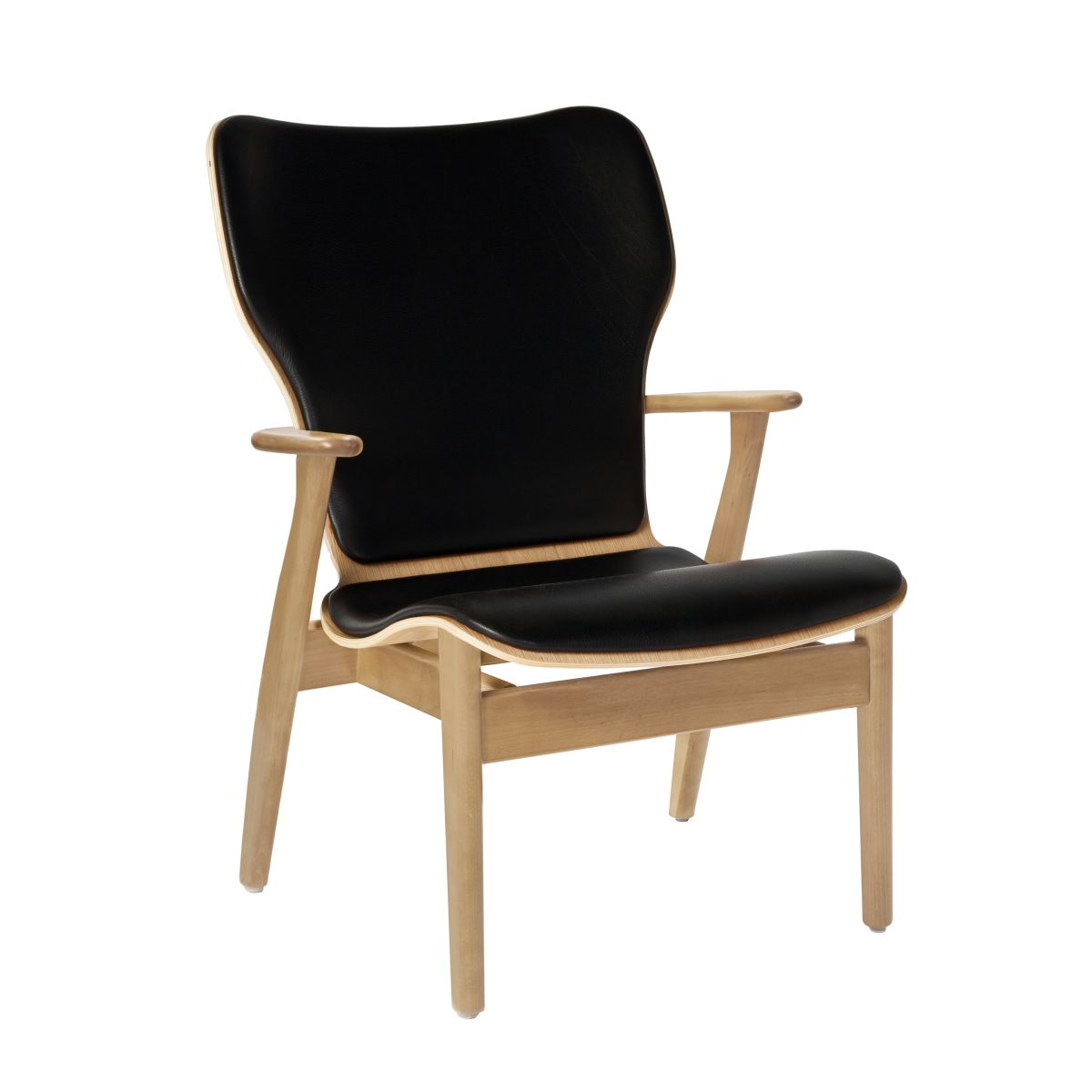 Domus Lounge Chair clear laquered birch_leather upholstery