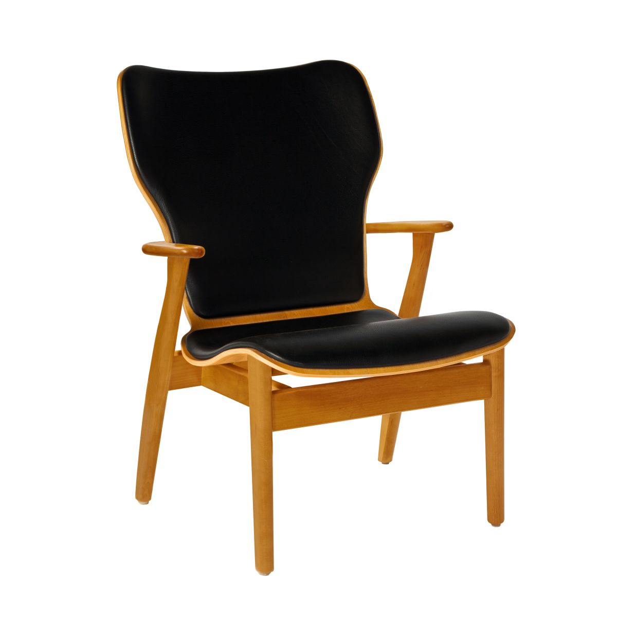Domus Lounge Chair honey stained birch_leather upholstery
