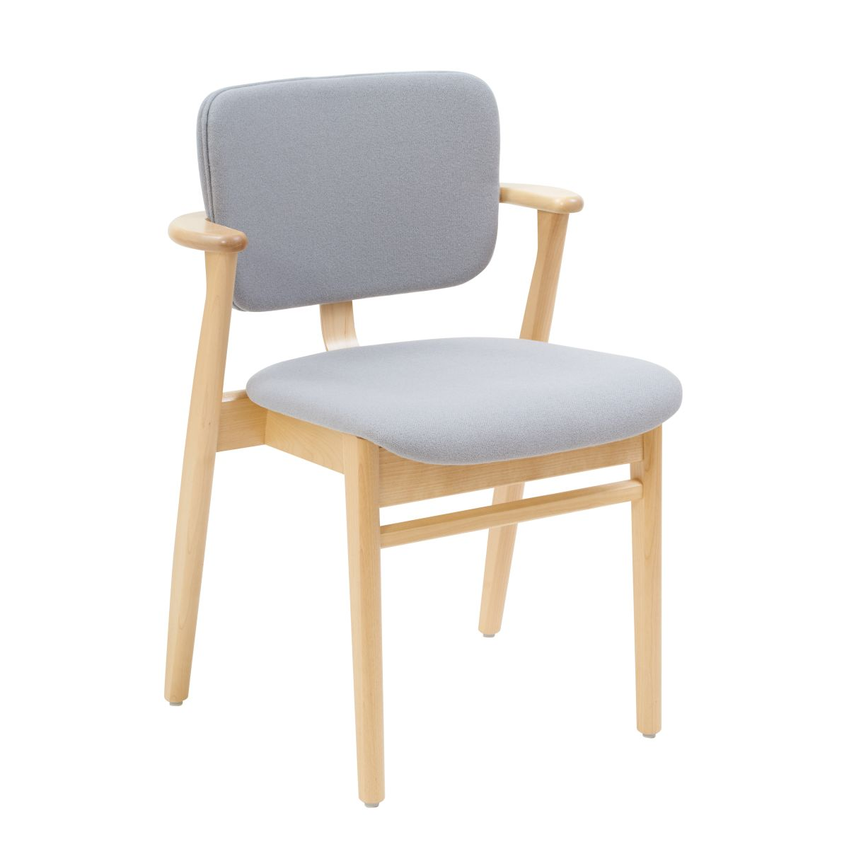 Domus Chair clear laquered birch_seat back fabric grey
