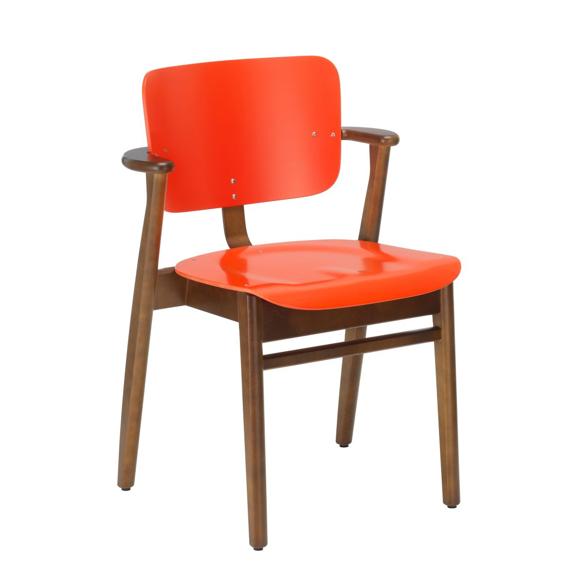 Domus Chair walnut stain bright red lacquer_F