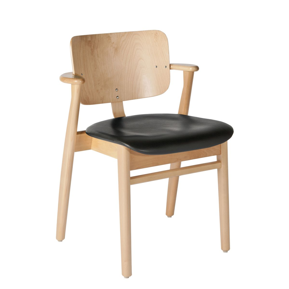 Domus Chair legs clear laquered birch_seat leather black