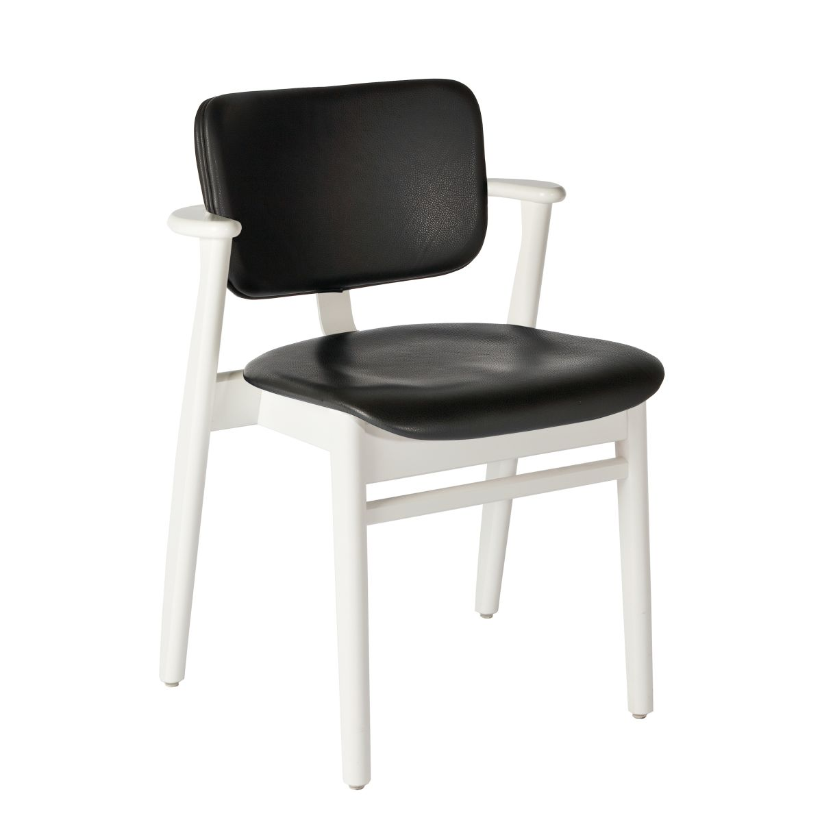 Domus Chair legs white laquered birch_seat back leather black